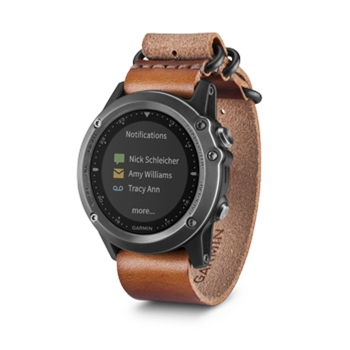 Garmin Fenix 3 Sapphire Gray GPS Wrist Watch With Leather Strap P4838 on garmin gps navigation product