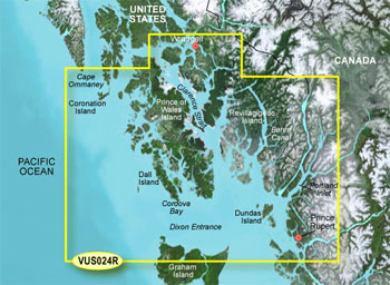 Garmin Bluechart G2 Vision HD Wrangell to Dixon Entrance Chart - VUS024R