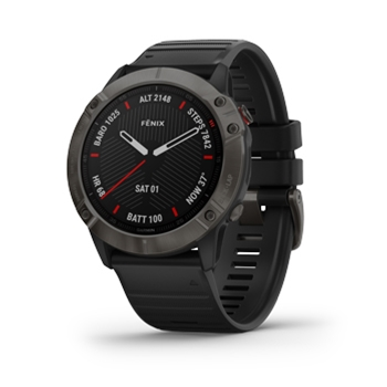 Garmin Fenix 6X Sapphire Carbon Gray DLC with Black Band GPS Watch