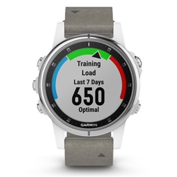 Garmin fenix 5s Plus Sapphire GPS Watch with Gray Suede Band