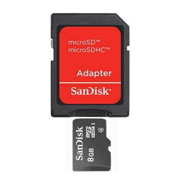 8GB microSDHC Card with SD Adapter Blank