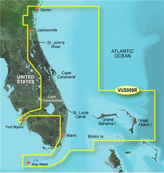 Garmin Bluechart G3 Vision Jacksonville to Key West Chart - VUS009R
