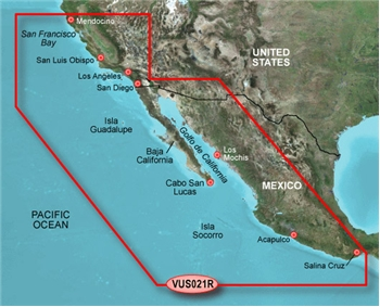 Garmin Bluechart G2 Vision California to Mexico Chart - VUS021R