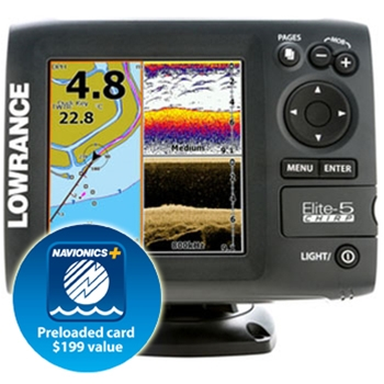 Lowrance Elite 5 CHIRP Gold with 83/200 & 455/800 Transducer