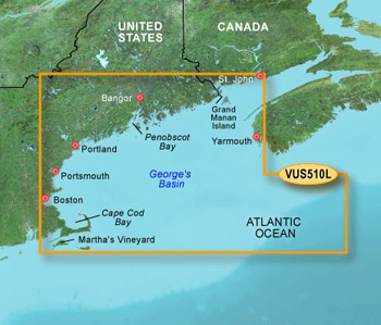 Garmin Bluechart G2 Vision VUS510L Maine to Cape Cod